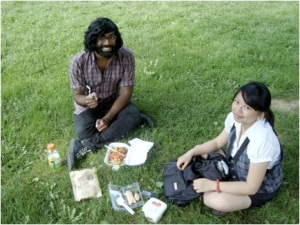 Rajiv and I with our measly picnic, consisting of a tub of organic mango ice cream, spicy salmon sandwich, rice crispy squares from Starbucks, Gatorade, and Rajiv's meal purchased from some sketch restaurant along Bloor St that sold laxative tea bags
